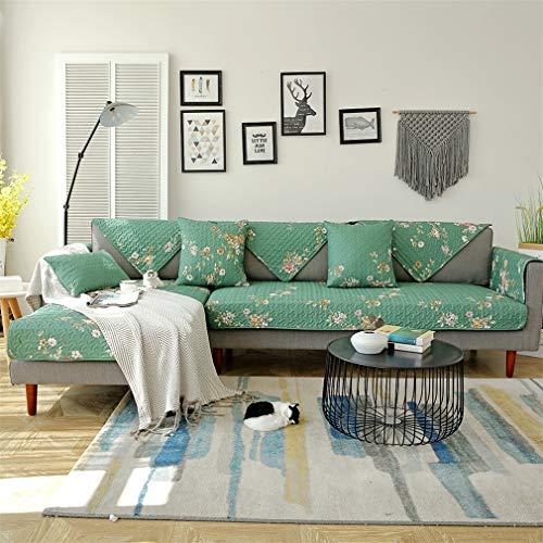 ADGAI Funda de sofá en Forma de L Funda de sofá Protector para Mascotas 1 Pieza Verde Claro Antideslizante Resistente a Las Manchas Lavable a máquina Protector de Muebles -1 2 3 4 sofá,70 * 150cm