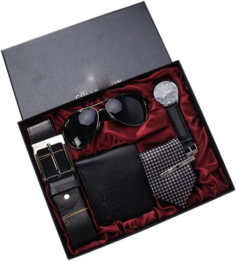 NJBYX 5pcs set Max 49% OFF Men's Gift Portland Mall Glasses Watch Set Packaged Beautifully