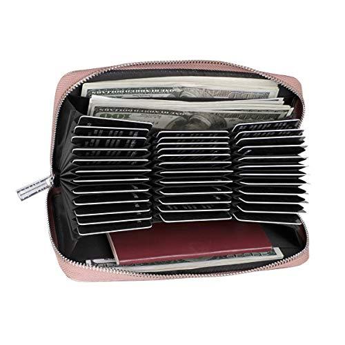 CARDALLTRY Credit Card Wallet RFID Blocking Leather Wallet Card Case Long Purse Passport Holder (Rose Gold)