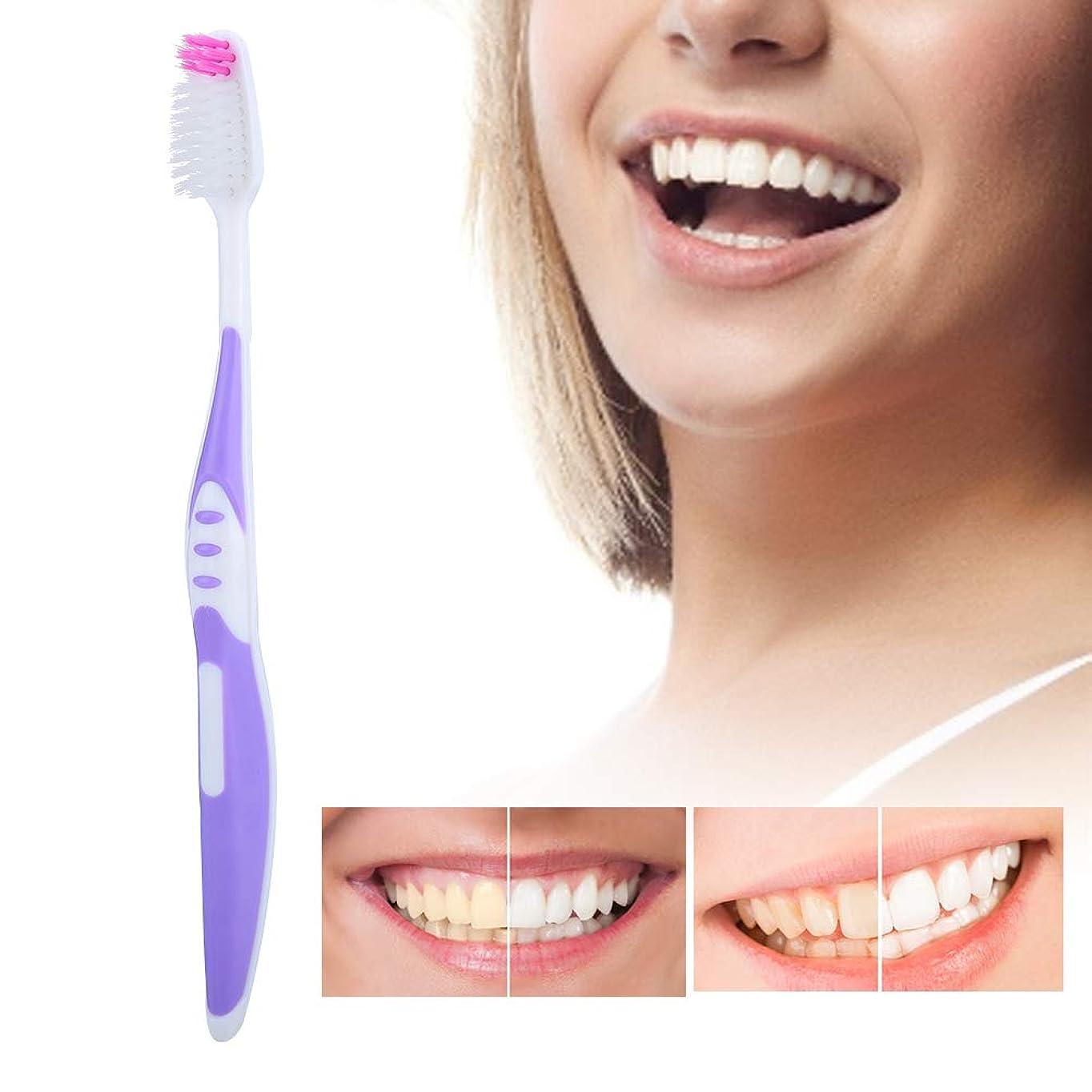 コンクリートアラビア語色ソフトブラシ髪の歯ブラシ10個入りpp滑り止めハンドル歯のクレンジングブラシ用大人パープル