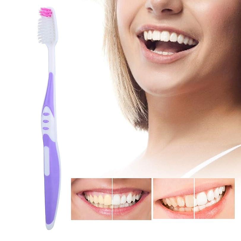 請求書華氏押し下げるソフトブラシ髪の歯ブラシ10個入りpp滑り止めハンドル歯のクレンジングブラシ用大人パープル