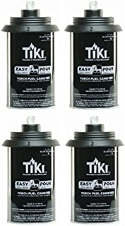 Tiki 1317054 Easy Pour Metal Replacement Torch Fuel Canisters w/Wick - Quantity 4