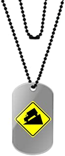 Made On Terra Steep Downhill Grade Ahead Basic Yellow Sign Acrylic Dog Tag with Black Ball Chain