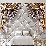 Wallpaper Photo Wallpaper Giant Wallpaper 3D Cortina europea moderna Fondos suaves Mural Sala de estar Sofá Habitación Decoración para Papel tapiz no tejido Papel tapiz 3D Decoración-400cm×280cm