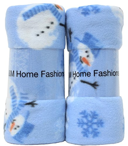 Holiday Printed Fleece Throw Blanket Reversible Fuzz Soft Warm Breathable Fluffy for Bed, Chair, Couch, Picnic, Camping, Beach, Travel-Polar Snowman