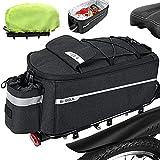 FINEW Fahrrad Gepäckträger Tasche 10L Isolierte Stammkühltasche Gepacktraegertasche Multifunktionale Hinter Gepäcktasche Wasserdicht Rücksitztasche mit Regenschutz Reflektierend, Schnell Abnehmbare