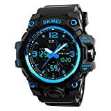 Men Large Dual Dial Analog Digital Watch Sports Casual Outdoor Waterproof Military Tactical LED Alarm Stopwatch Blue