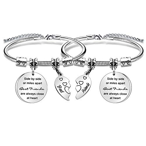 Best Friends Heart Pendant Snake Bracelet Gift Side By Side Or Miles Apart Best Friends Are Always Close At Heart.