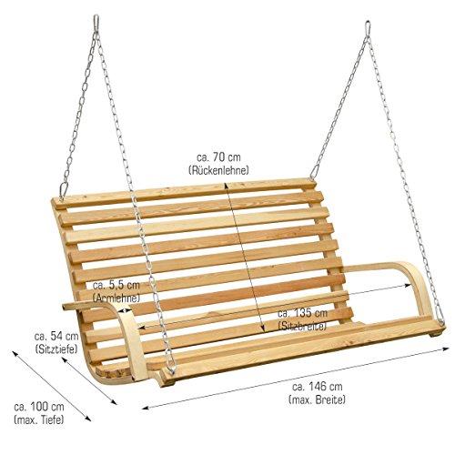 Hollywoodschaukel aus Holz Lärche Gartenschaukel Set Holzgestell mit 3-sitzer Holzbank Für Innen und Außen - 7