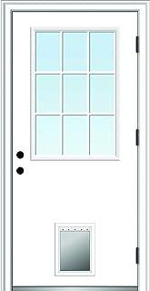 National Door Company ZZ364792L Steel, Primed, Left Hand Outswing, Prehung Front Door, 9 Lite with Pet Door, Clear Glass, 30