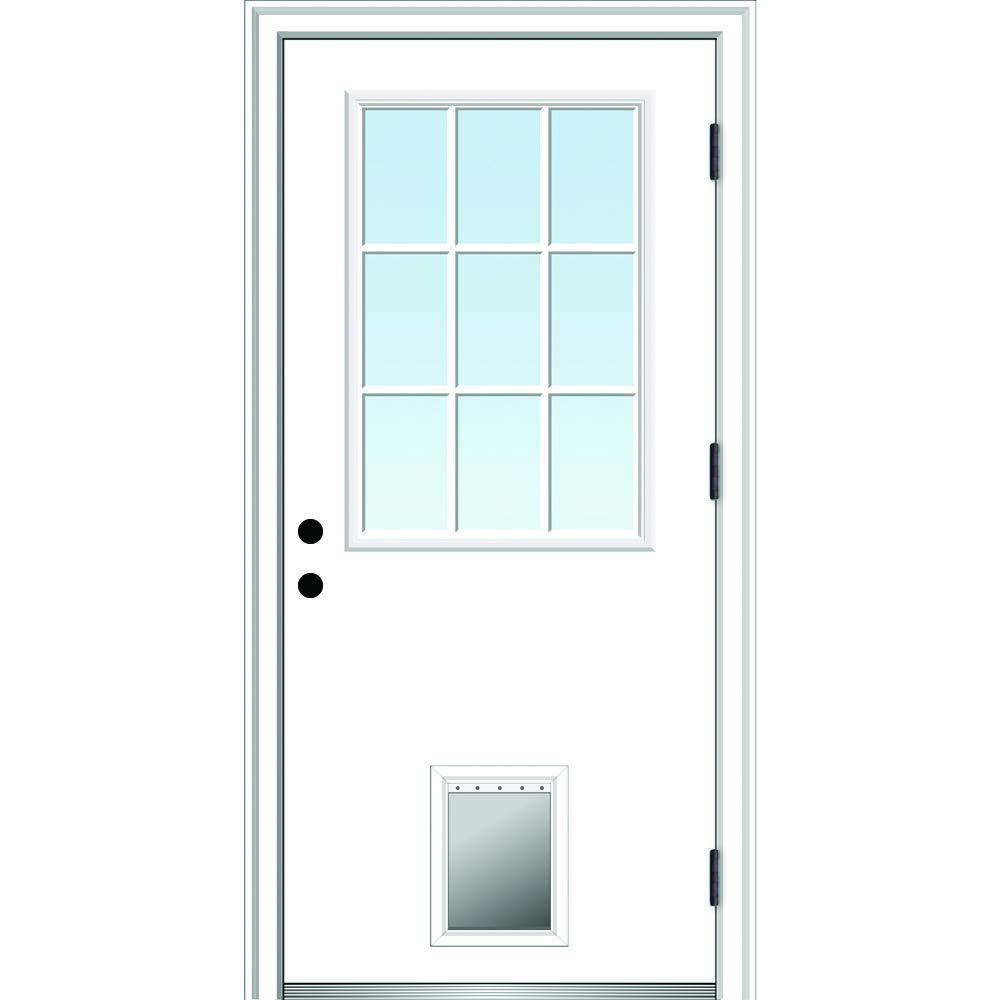 National Door Company Zz364805l Steel Primed Left Hand Outswing Prehung Door 9 Lite With Pet Door Clear Low E Glass 32 X80 Amazon Com Industrial Scientific