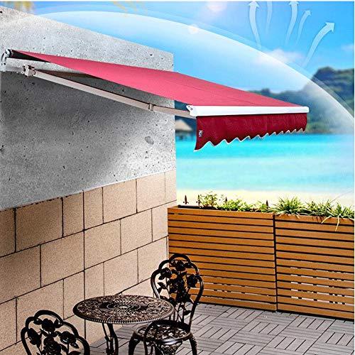 WSN Toldo Manual Parasol retráctil Toldo Refugio Refugios Gazebos con manivela para Patio Jardín al Aire Libre 2.5X2m,Liquor Color