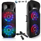 Enceinte Sono DJ PA Mobile Party MyDJ BOXER-215LED Batterie Karaoké 2x15' 1000W USB/BT/SD/F RADIO FM + 2 Micros VHF + OVNI