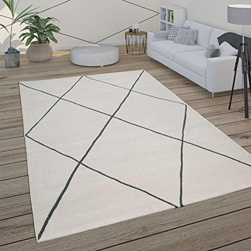 Paco Home Tapis Salon Scandinave Motif Diamant Moderne Blanc Différents Designs Tailles, Dimension:120x170 cm, Couleur:Blanc 3
