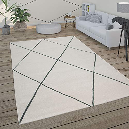 Paco Home Teppich Wohnzimmer Skandi Rauten Muster Modern Weiß Verschiedene Designs Größen, Grösse:120x170 cm, Farbe:Weiß 3