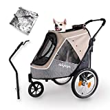 Ibiyaya 2-in-1 Happy Pet Dog Stroller and Bike Pet Trailer for Medium and Large Dogs - Heavy-Duty Pet Strollers with Air-Filled Tires, Rear Brake System - Premium Dog Buggies and Strollers - Latte