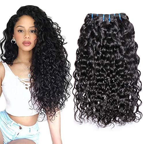 Musi Brazilian Hair Water Wave 3 Bundles Grade 8A Wavy Virgin Brasilianischen Echthaar 18 20 22 Inch human hair bundles Natural Black 95-100g/pc