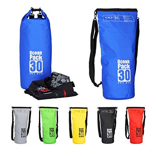Relaxdays Ocean Pack 30 L, waterafstotende Dry Bag voor waardevolle spullen, lichte droogzak voor outdoor sport, blauw
