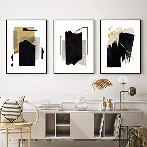 XIANGPEIFBH Vintage Golden Black Brush Effect Abstract Geometric Canvas Painting Wall Art Print Poster Picture Living Room Decor 40x60cmx3pcs Unframed