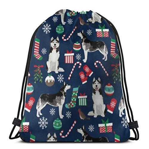 Tienda asequible Husky Navidad perro cordón mochila deporte Bolsas Cinch Tote Bolsas para viajar y almacenamiento para hombres y mujeres 17x14 pulgadas