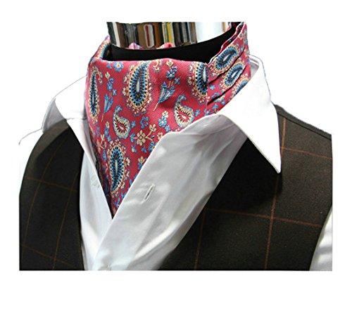 Wookki 100% Handmade Foulard Cravate Echarpe Ascot De Cérémonie Mariage Travail En Polyester Soie Double-face Avec Borderie Florale Luxueuse Pour Homm