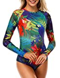 AXESEA Womens Long Sleeve Rash Guard UV UPF 50+ Sun Protection Printed Zipper Surfing One Piece...