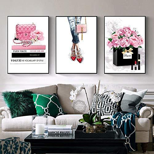 YDGG Mode boek meisjes parfum handtas muurkunst canvas schilderij poster afdrukken foto's woonkamer decoratie 50 x 70 cm x 3 stuks geen lijst