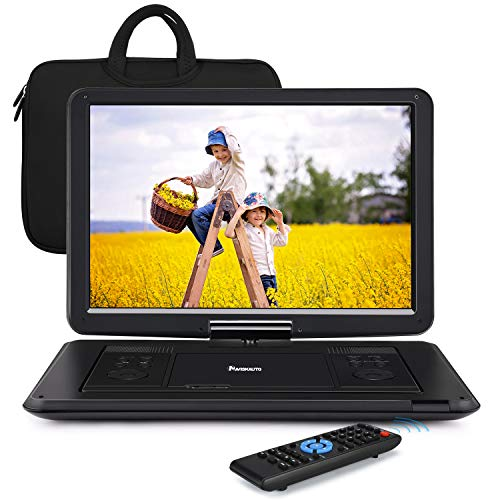 """NAVISKAUTO 16"""" Portable DVD Player with Large Screen Free Carry Bag Rechargeable Battery Support HDMI Input, 1080P Video, Sync Screen, Last Memory, AV in & Out, Region Free, USB"""