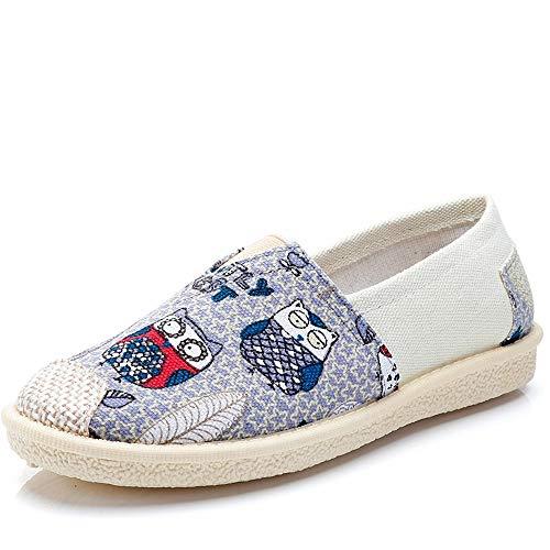 Morbuy Alpargatas para Mujer, Zapatos Planos Ocasionales Loafer Zapatos Moda Búho Rayado Estilo Boho Bohemio Nacional 35-40 (EU39 Apto para pies de Longitud 245MM, Búho Azul)
