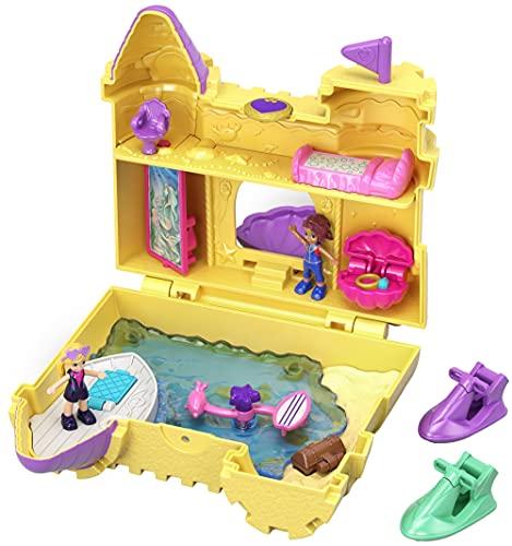 Polly Pocket Coffret Univers Le Château de Sable avec 2 mini-figurines et accessoires, autocollants et 5 surprises cachées, jouet enfant, GCJ87