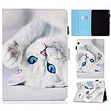 HülleFun Hülle für Huawei MediaPad T3 10 9.6 Weiß Katze PU Leder Tasche Cover Schutzhülle Schale Etui mit Standfunktion