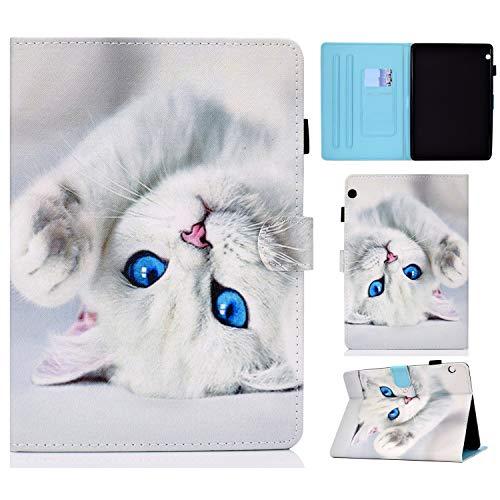 Lspcase Huawei Mediapad T3 10 Schutzhülle, Huawei Tablet T3 10 Lederhülle Brieftasche Flip Hülle Cover Standfunktion Card Holder Tasche Etui für Huawei Mediapad T3 10 9.6 Zoll - Weiße Katze