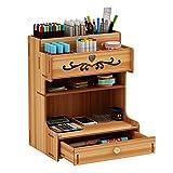 Ampio organizer da scrivania in legno per cassetti, cancelleria, scrivania, portapenne per...
