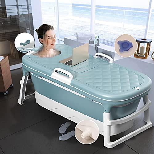TTLIFE Klappbadewanne Tragbare Massagebadewanne für Erwachsene, Haushaltsbadewanne, Badewanne mit Duschraum, Thermostatabdeckung 45,27 Zoll (BLAU-mini)