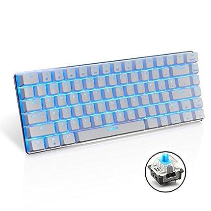 Teclado mecánico AK33 de Lexon tech, teclado para juegos con cable USB con retroiluminación LED azul, teclado compactos de 82 teclas, interruptores azul , mecanógrafos y jugadores de juegos (blanco)