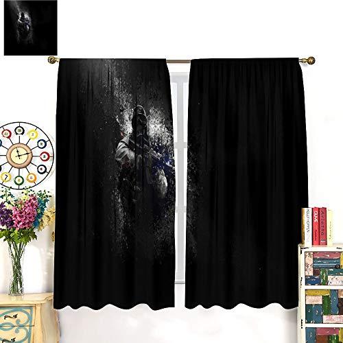 Petpany Csgo Global Offensive Police Limited Edition Art Illustration - Juego de cortinas para ventana (132 x 213 cm) para cocina y cocina, bolsillo para barra de cortina para dormitorio/sala de estar