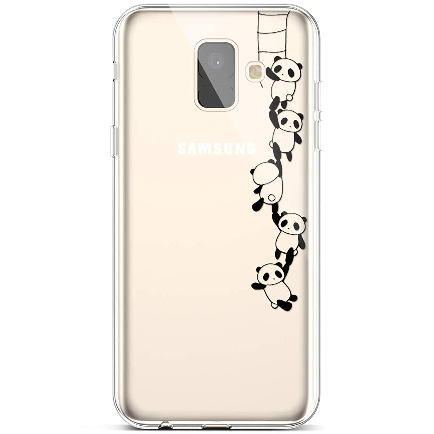 PHEZEN Compatible Galaxy A6 2018 Case,Slim Shockproof Cute Amusing Whimsical Design Crystal Clear Ultra Thin Soft Silicone TPU Cover Bumper Phone Case for Samsung Galaxy A6 2018,Panda