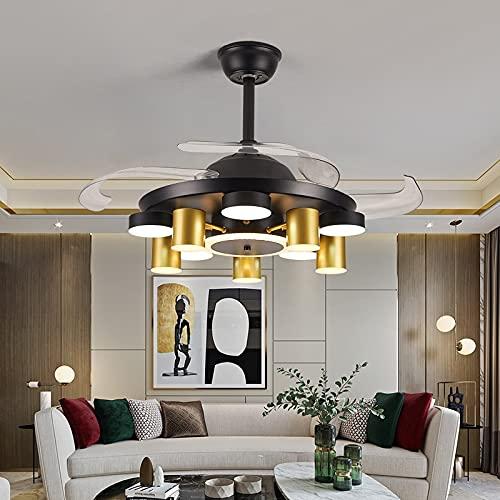 L-WSWS Luz del ventilador de techo Decoración nórdica Decoración LED Ventilador de techo Lámpara Lámpara Lámpara Comedor Fans de techo con luces Lámparas de control remoto para sala de estar