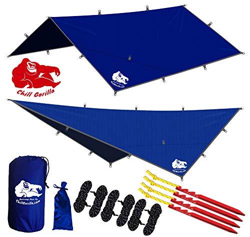 Chill Gorilla 12x12 Hammock Rain Fly Camping Tarp. Ripstop Nylon. 203' Centerline. Stakes, Ropes &...