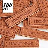 VINFUTUR 100pcs PU Handmade Labels Leder Etiketten Tags Handmade Kleideretiketten DIY Näharbeit...