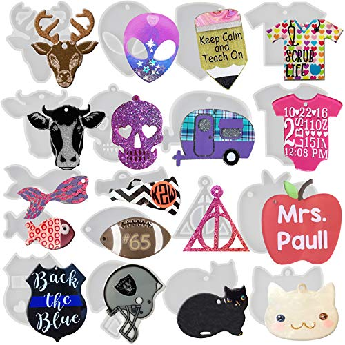 Keychain Charm Epoxy Resin Silicone Molds Set Make Bag Tag Dog Tags Party Favors Alien Camper Megaphone Pencil T-shirt Football Apple Skull Baby Cat Police Badge Football Helmets