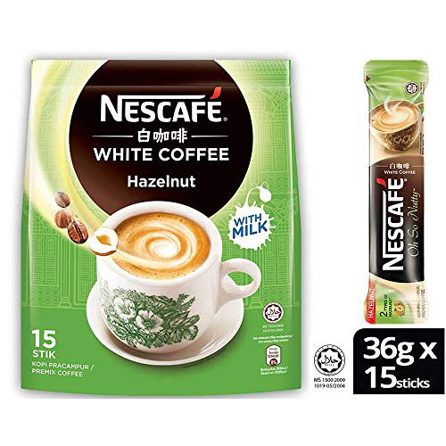 Nescafé Ipoh White Coffee HAZELNUT (15 Sachets) - 'Oh So Nutty' Flavored Premix Instant Coffee Deliciously Milky with Creamy Nuttiness & Irresistible Hazelnut Aroma Just Mix with Water, No Need of Sugar and Creamer Made from Quality Beans From Nestlé Malaysia