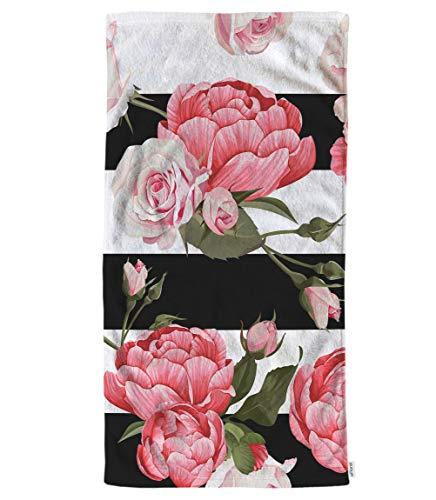 Toalla de Mano con diseño Floral de peonías y Rosas, Hojas Verdes con Rayas Blancas y Negras, Toallas de Mano Suaves y cómodas para baño, Cocina, SPA, Gimnasio, Yoga, 15 x 30 Pulgadas