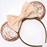 CLGIFT Rose gold Minnie Ears Beige, bridal wedding Minnie Ears, Silver gold blue minnie ears, Rainbow Sparkle Mouse Ears,Classic Red Sequin Minnie Ears (Rose Gold and Beige)