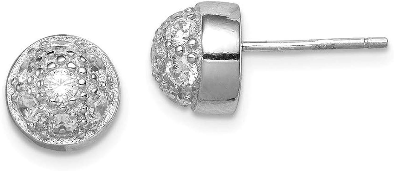 Beautiful Sterling silver 925 sterling Sterling Silver CZ Half Ball Post Earrings