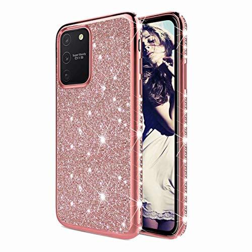TYWZ Strass Hülle für Samsung Galaxy S10 Lite,Glitzer Diamant Glanz Bling Mädchen Case Cover Ultra-Slim Stoßfeste Anti-Rutsch Silikon Schutzhülle-Roségold