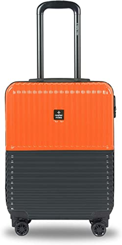 Istanbul Hard Sided ABS And PC Cabin Luggage 20 Inch 55Cm Trolley Bag Orange Grey