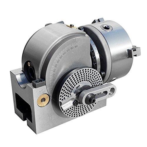 MXBAOHENG Cabeza Divisora Cabeza de Indexación 3-Mandíbula Semi-Universal para Fresadora Mesa Rotativa Vertical y Horizontal (BS-1 con Mandril de 200mm)