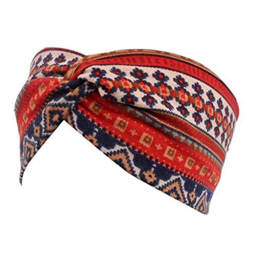 VIccoo Vrouwen Etnisch Gedrukt Kruis Brede Hoofdband Twisted Turban Elastische Haarband Schoonheid - Wijn Rood