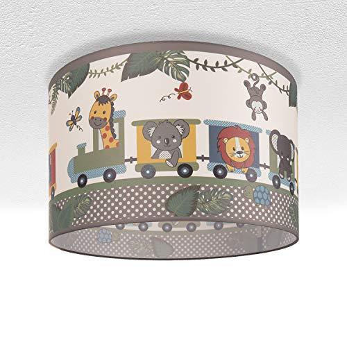 Kinderlampe Deckenlampe LED Pendelleuchte Kinderzimmer Lampe Zug Tieren, E27, Lampenschirm:Grün (Ø45.5 cm), Lampentyp:Deckenleuchte Silber + Leuchtmittel